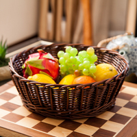 Handmade Wicker Basket Food Storage Container Living Room Fruit Basket Dried Fruit Plate Breadbasket Dessert Tray Rattan Basket