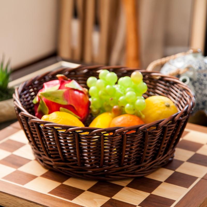 Panier en osier fait à la main récipient de stockage de nourriture salon panier de fruits secs plaque de pain panier à Dessert panier en rotin