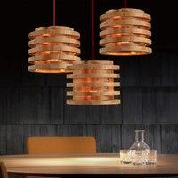 26 см круглая многослойная резьба в Северной Европе деревянная лампа винтажный ресторан кафе твердые деревянные подвесные светильники с Blub