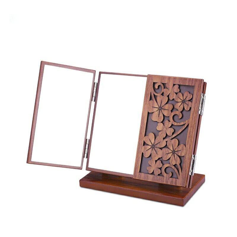 hecho a mano de madera retro espejo de maquillaje escritorio espejo de aumento plegable porttil mirrorthree
