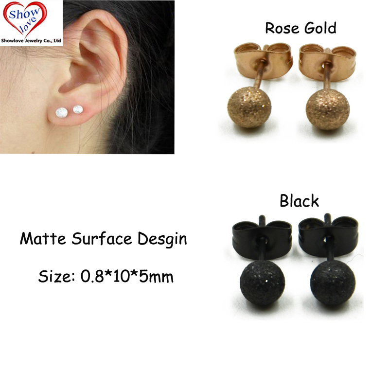 Showlove-PAIR Surgical Steel Fashion Matte Polished Round Ball Post Ear Stud Unisex Earrings Piercing