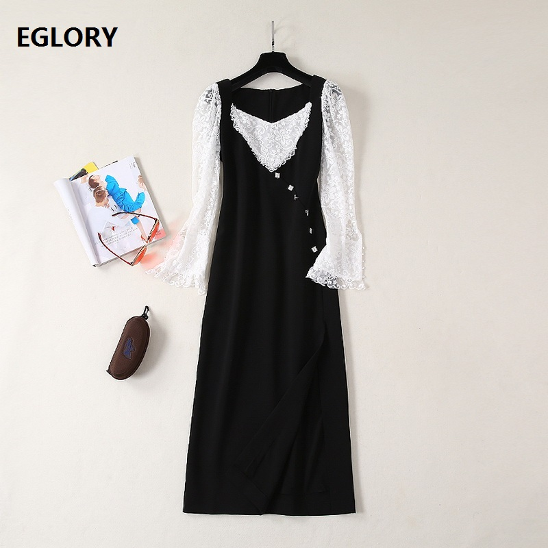 Top Quality New Celebrity Inspired Women's Dress Sexy Square Collar White Lace Patchwork Crystal Beadng Button Mid Calf Dress