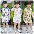 Corea Falda de 16 Niños Bebé Restaurar Maneras Antiguas de Impresión Corto Cheongsam Estilo Chino Tang Traje de Falda Falda