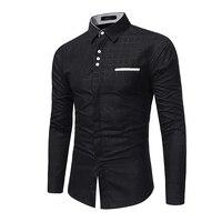 Brand 2017 Fashion Male Shirt Long Sleeves Tops Simple Plaid Printing Shirt Mens Dress Shirts Slim