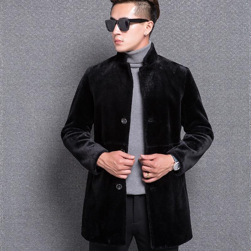 D'affaires Moto Automne Hiver Chaud Survêtement Longue Hommes Épaississement De Noir Vestes Manteaux Laine Fourrure Surdimensionné f7gYvby6