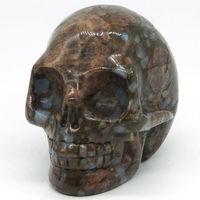 3Texas Llanite Blue Opal Skull Figurine Gemstone Healing Crystal Home Decor1011