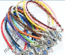 30pcs Mixed Color Ancient Silver Kabbalah Hand Charms Evil Eye Lucky Bracelet & Bangles Religious Jewelry Women Men Gift