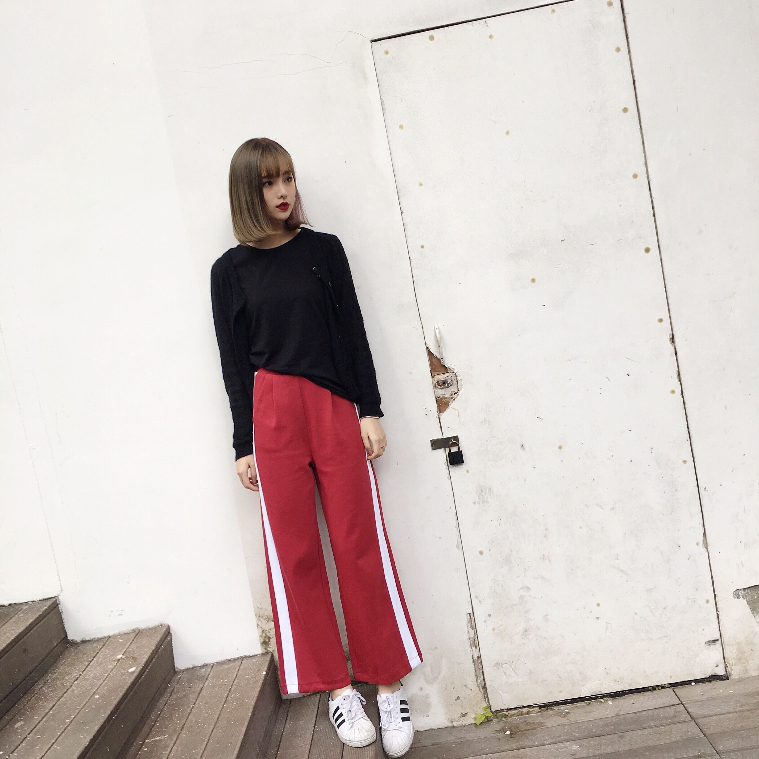 May123 Store Hunter-wish Texture Of The Knitted Fabric Pants White Spine On Both Sides Of The Waist With  PocketS