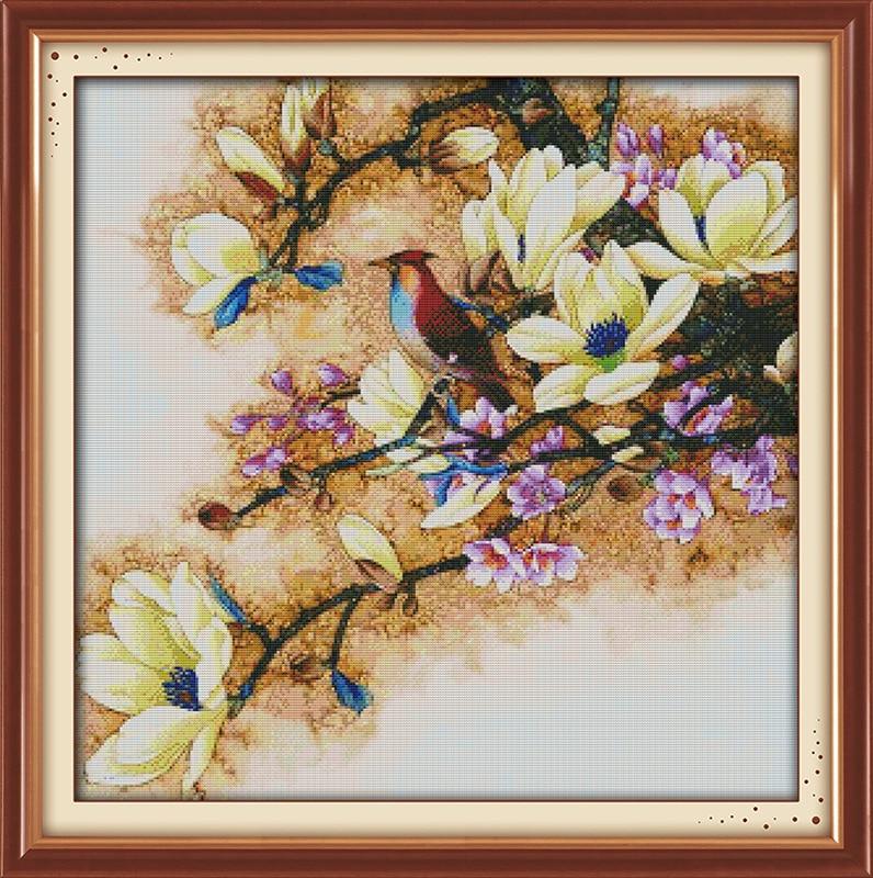 Piękny kwiat magnolii drukowane płótno DMC Counted chiński Cross - Sztuka, rękodzieło i szycie - Zdjęcie 4