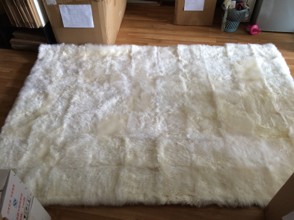 1Piece 200*160cm Ivory White Soft Natural Australian Sheepskin Large Wool  Shaggy Lambskin Rug Genuine Sheepskin Rugs