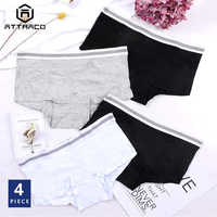 ATTRACO Women's Underwear Cotton Soft Panties Briefs Boyshorts Solid classic moderate comfortable skin-friendly Packs of 4