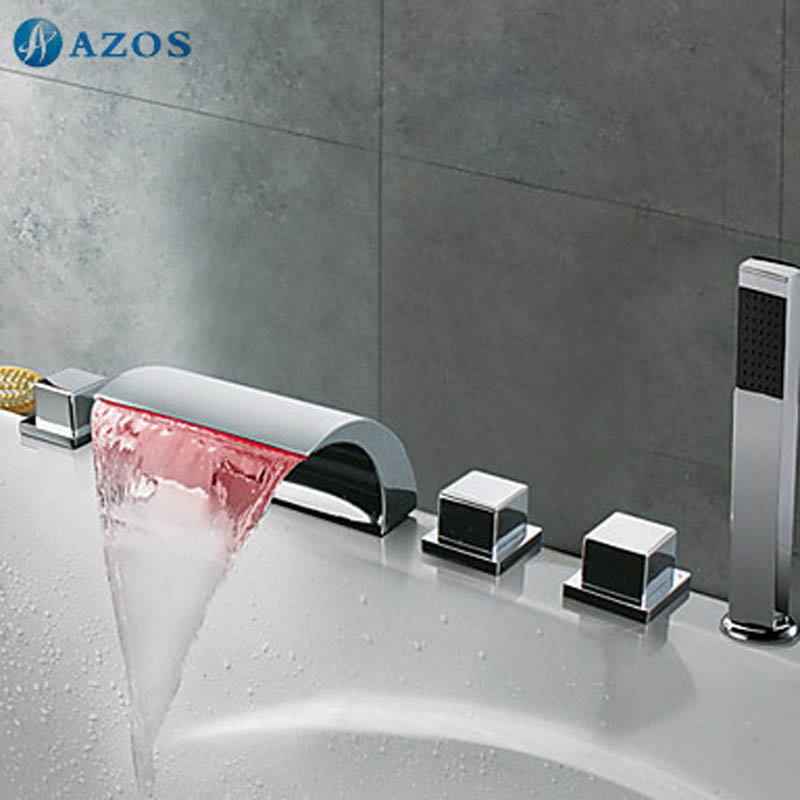 bathtub faucets led light chrome bathroom suana 5pc sets handles