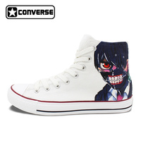 Women Men Converse Chuck Taylor White Shoes Man Woman Anime Tokyo Ghouls Design Hand Painted High Top Boys Girls Sneakers