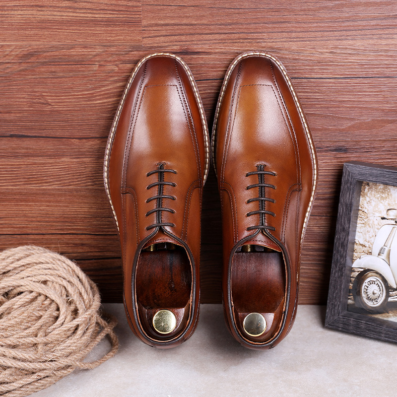 DESAI Business Dress Shoes Men Genuine Leather Retro Formal Shoes Gentleman Wedding Shoes Man Fashion Oxfords EUR Size 38-45