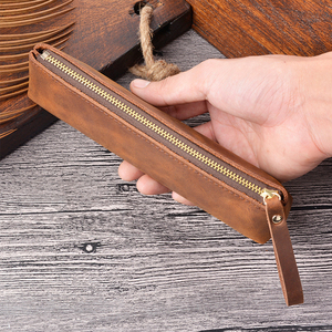 Image 3 - Prawdziwej skóry zamek piórnik ołówek torba duża pojemność rocznika szalony koń skóry ręcznie kreatywny akcesoria szkolne
