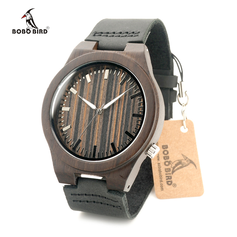 BOBO BIRD Brand Wooden Men's Watches with Real Leather Strap Japan Move' Quartz Wood Wristwatch for Men relogio masculino C-B13 luxury brand bobo bird men watches wooden quartz wristwatch genuine leather strap relogios masculinos b m14