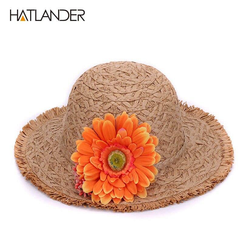 Children floral straw sun hat kids buckets hat pretty floppy  2db09af9706e
