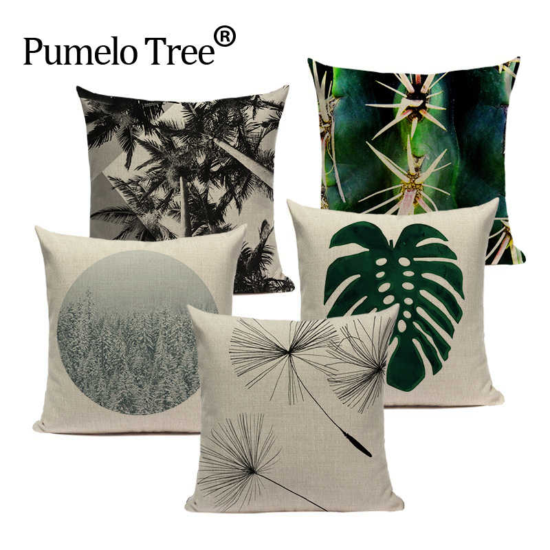 Monstera planta pillow covers decorativa Praça Houseware folha imprimir Home Decor capa de almofada de linho almofadas Dropshipping