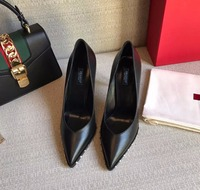 shaduo 2018 woman genuine leather High heels shoes Ladies Sexy Pointed Toe pumps Buckle rivets black heels dress wedding shoes