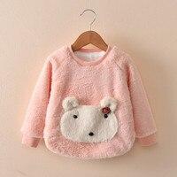 DFXD New Design Kids Girl Sweatshirts 2017 Winter Warm Clothes Long Sleeve Thick Coral Velvet Tops Baby Pullover Sweatshirt 2-7Y