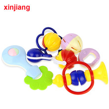 5PCS Hand Rattle Teether Shaking Jingle Bell For Infant Newborn 0-12 Months Toys Baby Rattles Plastic Hand Shake Bell Ring }(China)