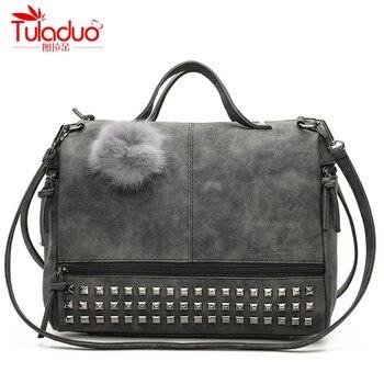 リベットトート女性バッグデザイナーハンドバッグレディース高品質レザーバッグ用女性crossbodybags大容量メッセンジャーバッグ