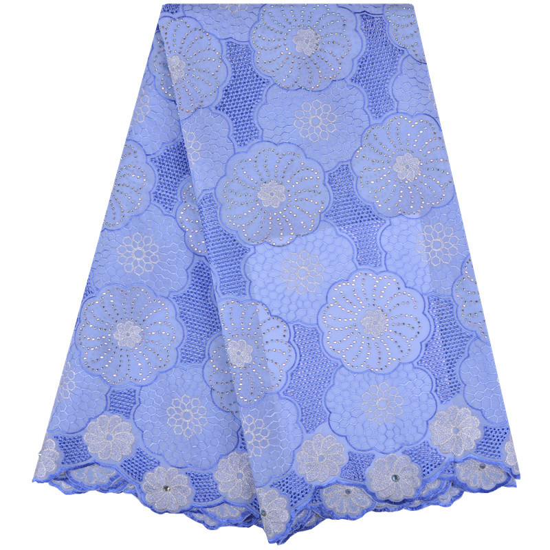 2018 5yards High Quality African Cotton Lace Fabric Sky Blue Swiss Voile Lace Fabric With Embroidery