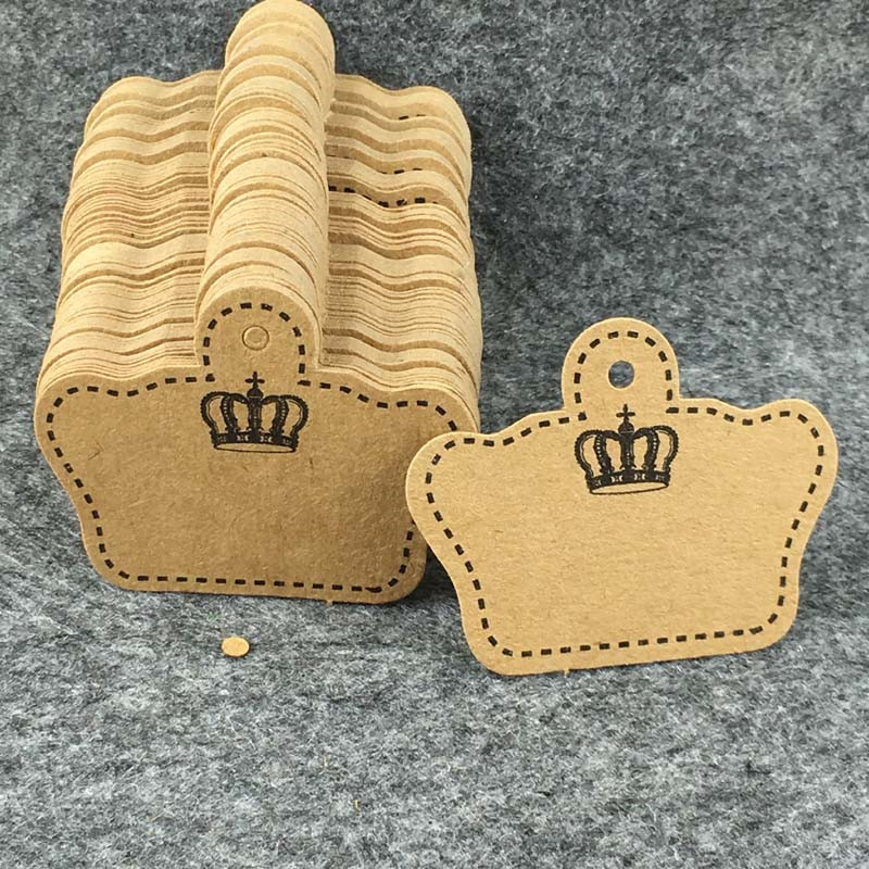 5.1x4cm Brown White Crown Shape Tags Handmade With Love Kraft Paper Cardboard For Jewelry Box Accessory Boxes Hang Tags Custom