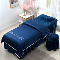 High quality beauty salon bedding set embroidery crystal velvet thick bed linens sheets bedspread pillowcase duvet cover sets #s