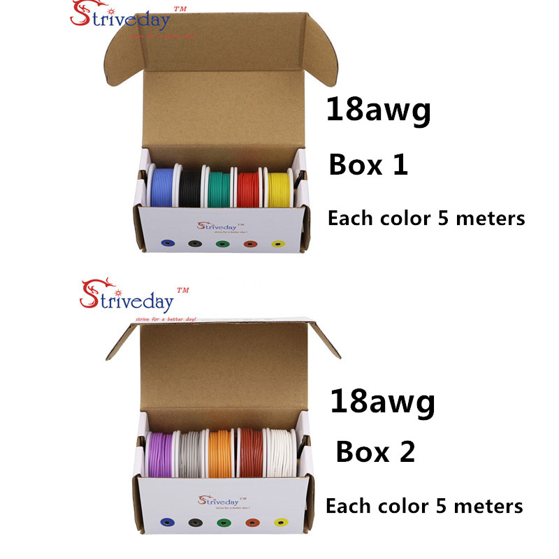 18AWG 50m Flexible Silicone Cable Wire 10 colors (box 1+box 2 Stranded Wire Kit) Electrical Wire Tinned Copper line DIY18AWG 50m Flexible Silicone Cable Wire 10 colors (box 1+box 2 Stranded Wire Kit) Electrical Wire Tinned Copper line DIY