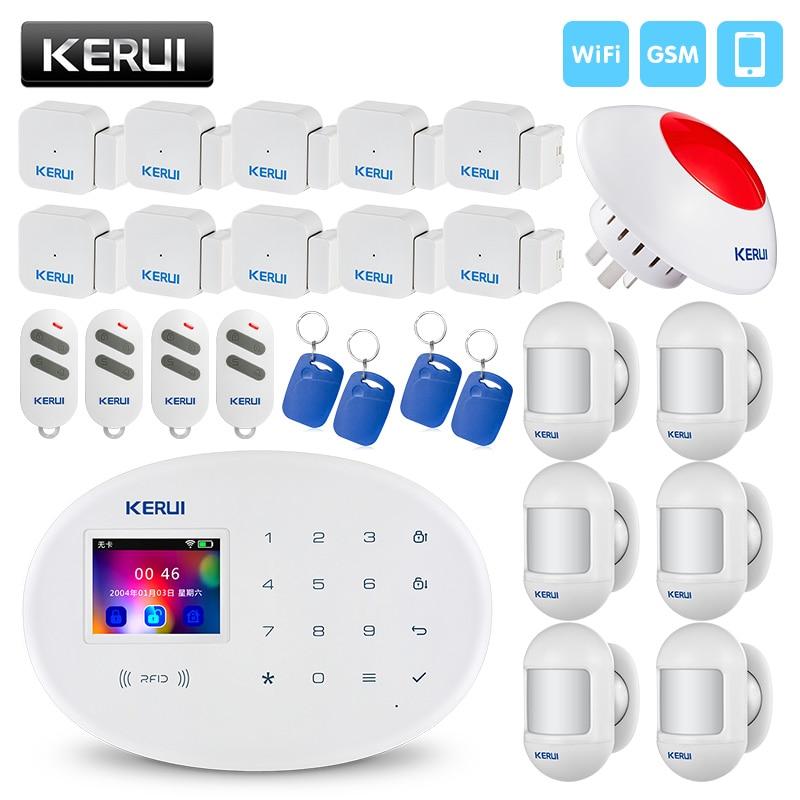 KERUI W20 Home Security Burglar Wireless RFID Card SIM GSM WIFI Alarm System iPhone IOS Android APP Control TFT Color Display стоимость