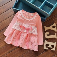Crochet Dress Baby 2016 Autumn Long Sleeve Lace Bow Baby Party Birthday Girls Kids Children Dresses