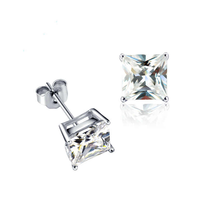 IDESTINY 11.11 Single Princess Cut Earings CZ 6mm Silver Color Stud Earrings Women Jewelry Brinco Pequeno Support Dropshipping