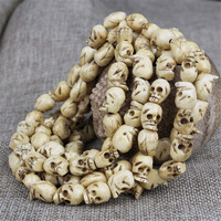 Wholesale Hand Carved Natural Yak Bone Skull 108 Beads Mala Bracelets DIY Beads Jewelry Accessories Tibetan Style Men Bracelets