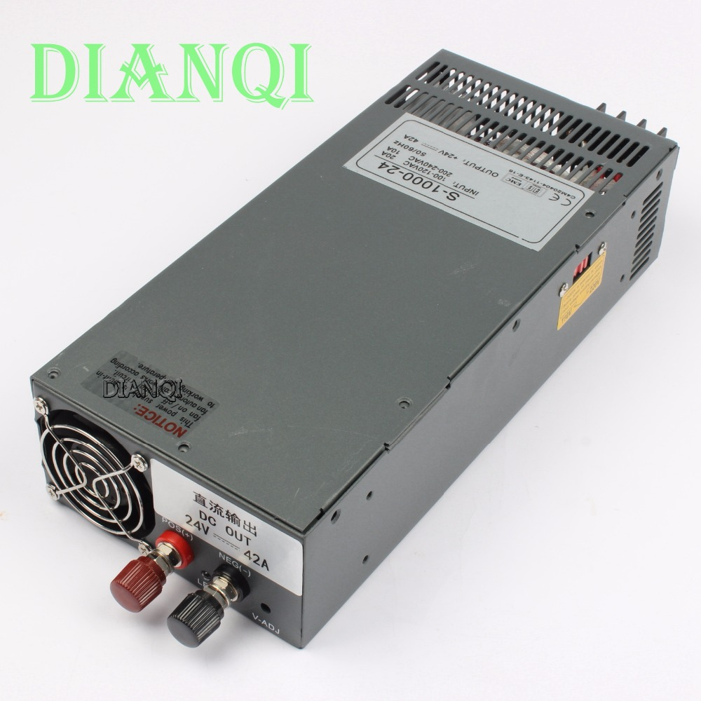 DIANQI S-1000-24 1000W 24V 42A power supply 220V or 110V INPUT Single Output Switching power supply for LED Strip light AC to DC