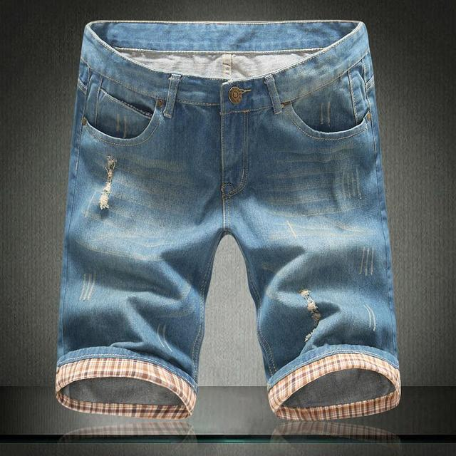 b4b6a939498a € 14.85 48% de DESCUENTO|2019 pantalones cortos casuales para hombre moda  de verano Pantalones vaqueros cortos azul claro Fitness pantalones cortos  ...