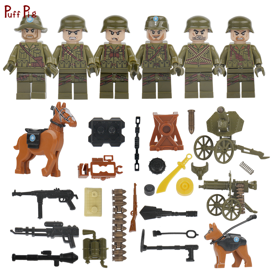 World War II Military Chinese Army Soldier Figures Building Blocks Compatible Legoing WW2 SWAT Police Figures Weapon Toys Friend цена