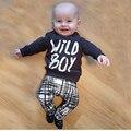 2016 Осень baby boy одежда установить моды хлопка с длинными рукавами Футболки + брюки письмо 2 шт.. новорожденного мальчика установленные одежды SY147