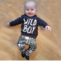 2016 Autumn baby boy clothes set fashion cotton long-sleeved T-shirt + trousers letter 2 pcs. newborn baby boy clothes set SY147