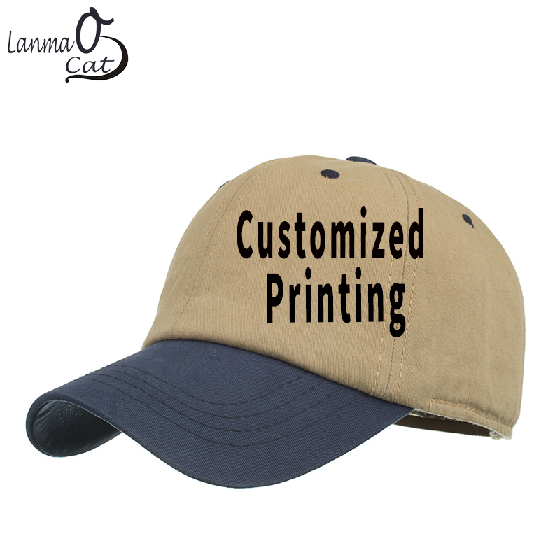 Lanmaocat Baseball Cap Men Women Blank Baseball Cap Custom Logo Text Print Summer  Hat Adjustable Baseball Cap Free Shipping 620a04c64fa