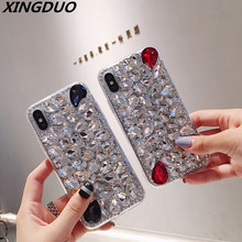 XINGDUO Rhinestone Diamond Cover Case For iphone XR Xs Max 5S 5C 6 7 8 Luxury Bling Shell soft Phone Case For iPhone 6S 7 8 Plus стоимость