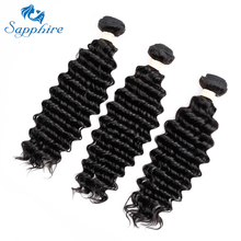 Sapphire Malaisia Hair Deep Wave Remy Human Hair 3 Bundles  Remy Hair Weaving Bundles Salon 3 Bundles One Pack Natural Color