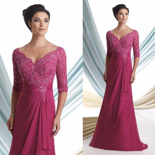 Plus Size Elegant Fuschia V Neck Beaded Lace Mother Of The Bride