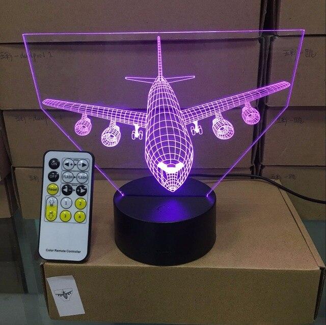 Lámpara de mesa LED 3D con Control remoto para avión de aire lámpara de ambiente de 7 cambios de color con batería de 3AA y USB