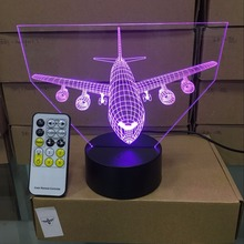 Remote Control Air Plane 3D Light LED Table Lamp Illusion Night Light 7 Colors Changing Mood Lamp 3AA Battery Powered USB Lamp