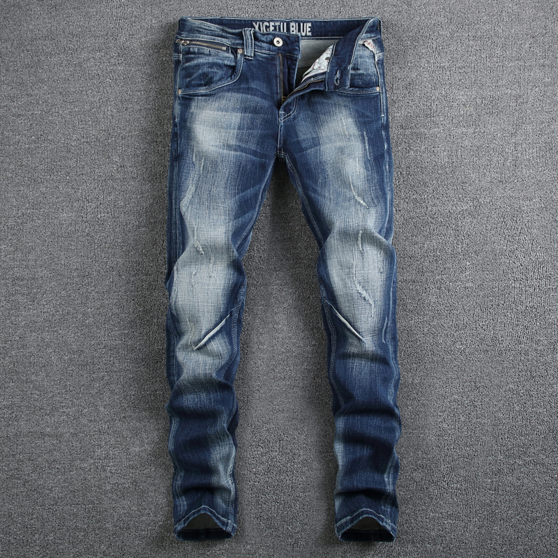 Italian Style Fashion Designer Men Jeans High Quality Elastic Slim Fit Stripe Jeans Mens Pants Blue Color White Wash Biker Jeans wolf printed biker jeans men high quality elastic jeans slim fit fashion brand clothing designer mens cargo pants denim overalls