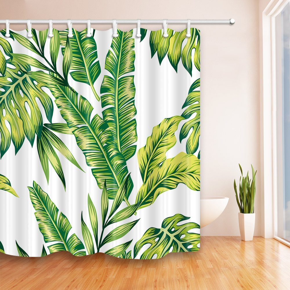 Palm shower curtain - Waterproof Mildewproof Polyester Shower Curtain Banana Palm Leaves Pattern Fashion Painting Jungle Of Exotic Tropic Plants