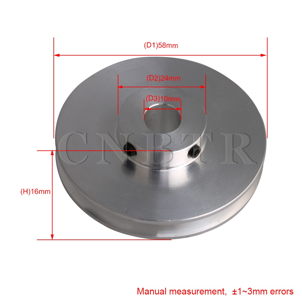 Купить с кэшбэком CNBTR 58x16MM Silver Aluminum Alloy Single Groove Fixed Bore Pulley for Motor Shaft 3-5MM PU Round Belts