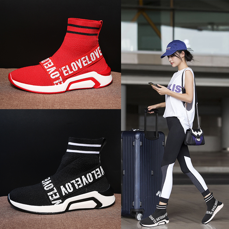 8abe63632ca8d Chowaring Sneakers Woman Platform 2018 Thick Heel Women Casual Shoes High  Top Knitted Woman Flats Shoes Korea Style Red Black