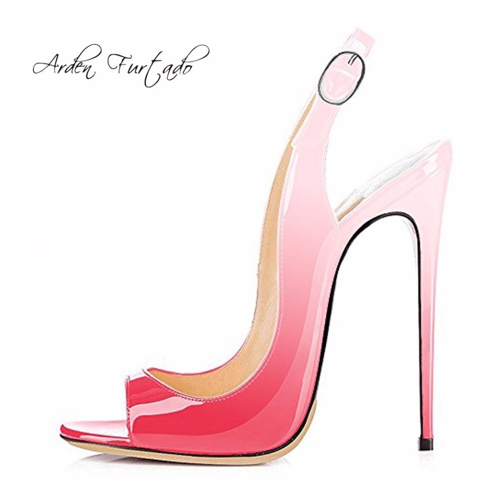 5710d7f74b96 Arden Furtado 2018 summer high heels 12cm peep toe stilettos buckle strap  fashion Leopard blue green sandals shoes for woman